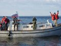 Наш катер у берегов острова Анзер