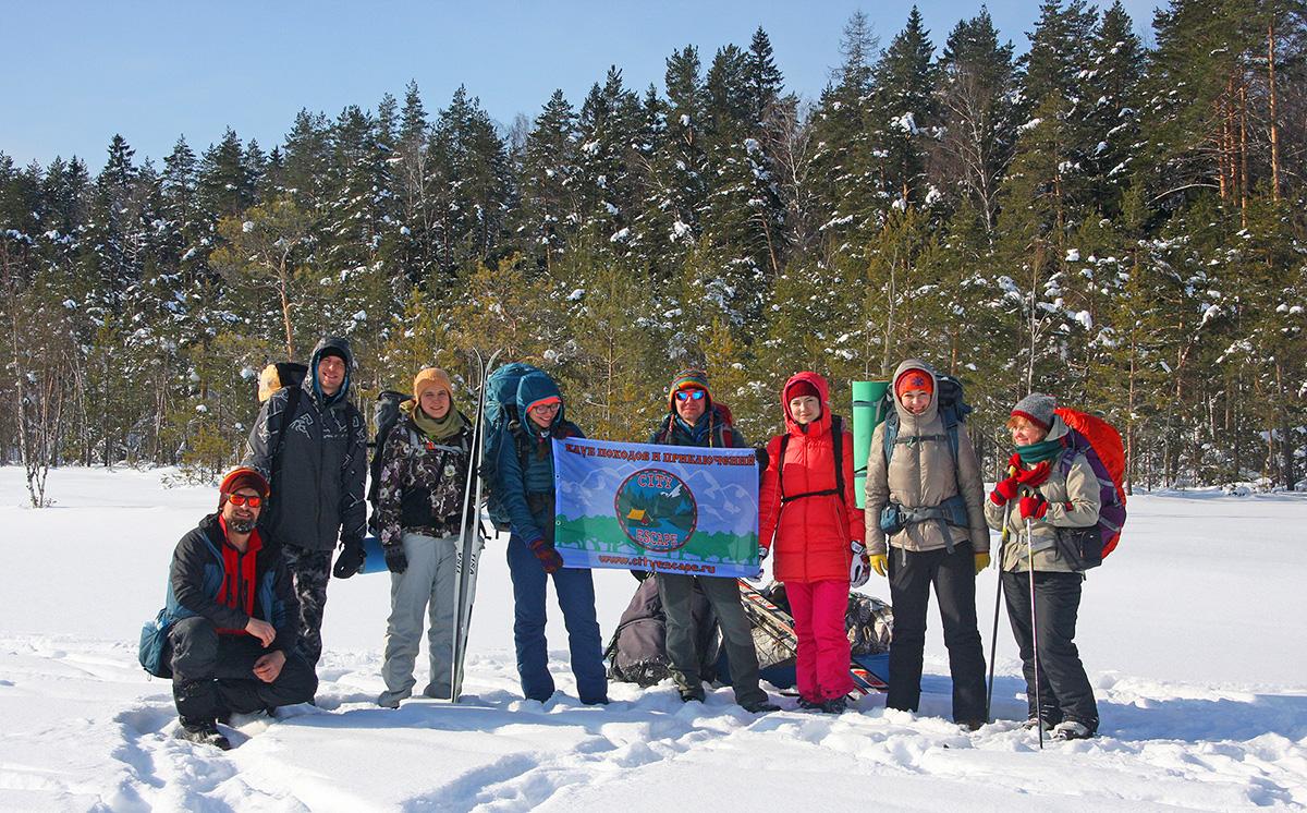 Поход под Звенигород с зимней палаткой с печкой